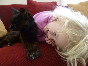 Gracelyn and her favorite kitty Kaali